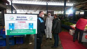 Balçova Zabıtasından Koronavirüs önlemleri